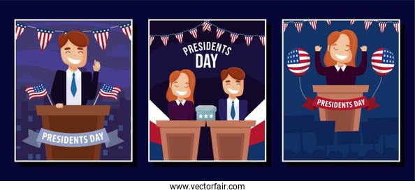 Woman and man in podium of usa happy presidents day vector design