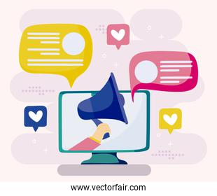Computer megaphone and bubbles of social media concept vector design