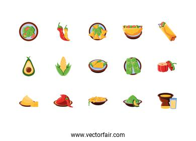 bundle mexican traditional set icons