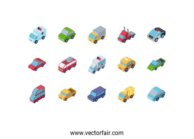 Isolated isometric cars icon set vector design