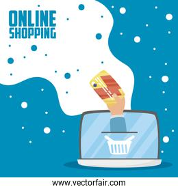 laptop with online shopping technology