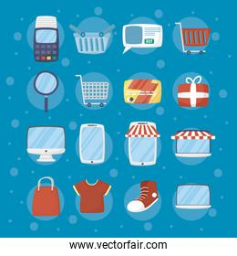 bundle of online shopping technology icons