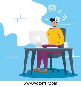 man using desktop with stress character