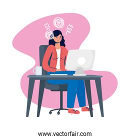 woman using desktop with stress character