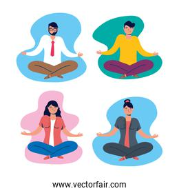 group of people practicing yoga in lotus position