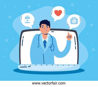 health online technology with laptop