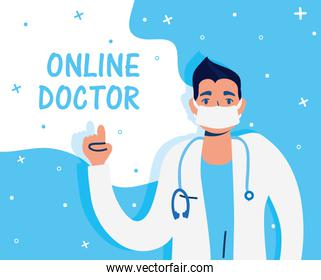health online technology with doctor character