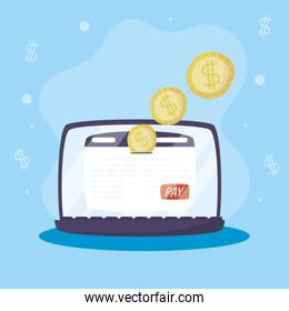 Payments online technology with laptop and coins