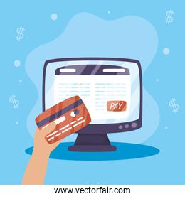 Payments online technology with desktop and credit card