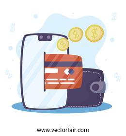 Payments online technology with smartphone and credit card