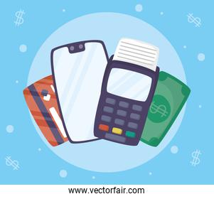 Payments online technology with smartphone and voucher