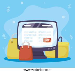 Payments online technology with desktop and shopping bags