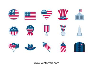 Isolated usa icon set vector design