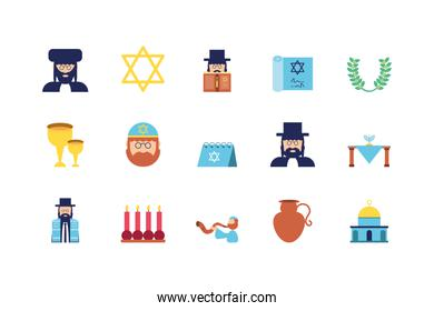 Isolated jewish icon set vector design