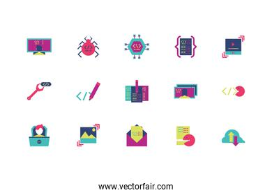 Isolated website code icon set vector design