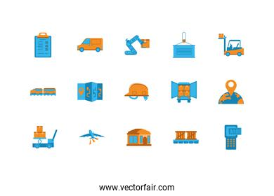 Isolated delivery icon set vector design