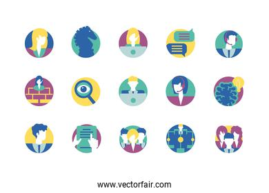 Strategy and management icon set vector design