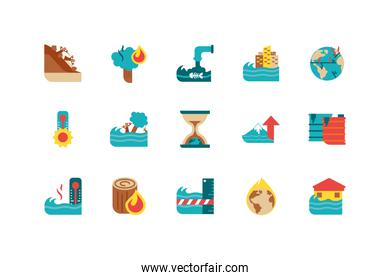 Isolated climate change icon set vector design