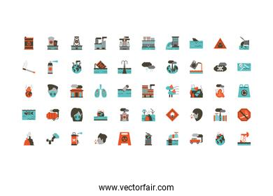 Isolated industrial and pollution icon set vector design