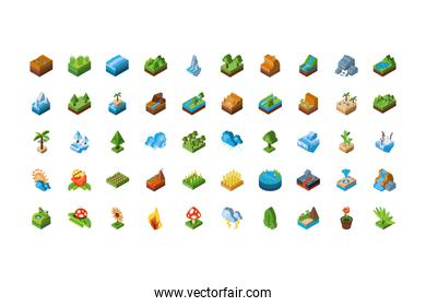 Isolated isometric nature icon set vector design