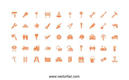 Isolated construction tools icon set vector design