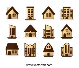 set of icons of towers of apartment, office building and house on white background