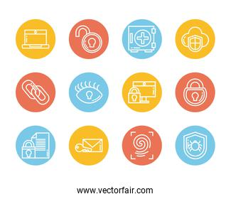 set of icons security, block and flat style icon