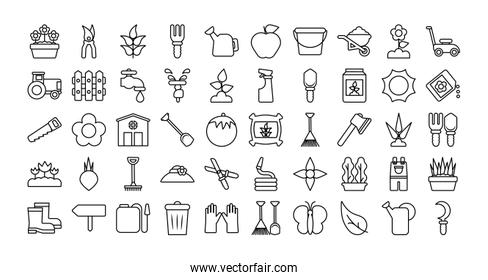set of icon gardening , line style icon