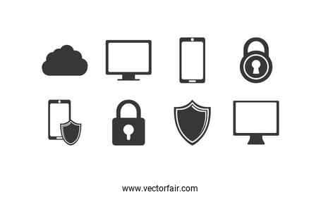 Variety technology and security system con set pack vector design