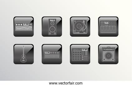 Variety music and dj icon set pack vector design