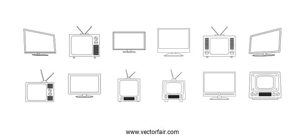 Isolated tv device icon set vector design