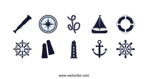 Isolated sea and nautical icon set vector design