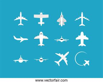 Isolated airplane icon set vector design