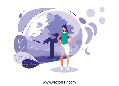 avatar woman with tree and leaves vector design