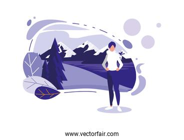 avatar woman with mountains and leaves vector design