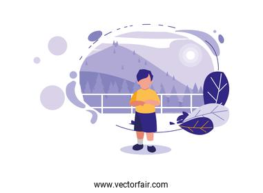 Isolated avatar boy with landscape and leaves vector design