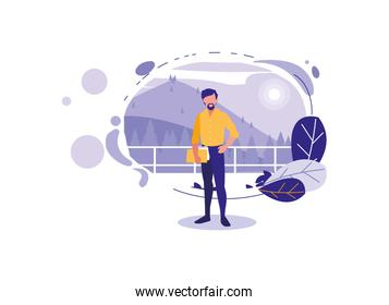 Isolated avatar man with landscape and leaves vector design