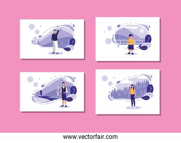 Isolated woman and man and boy avatar vector design
