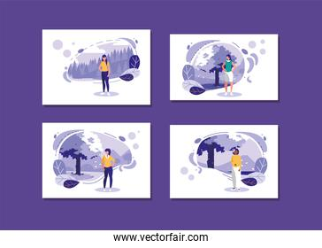 women avatars with landscapes and leaves vector design