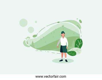 avatar woman with landscape and leaves vector design
