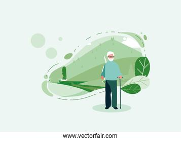 Grandfather avatar old man in front of a landscape vector design