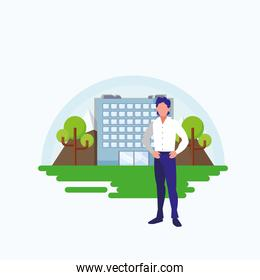 Isolated avatar man in front of a building vector design