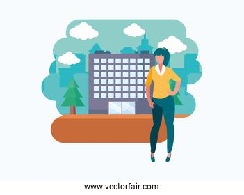 avatar woman person in front of a building vector design