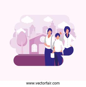 women avatars in front of a house vector design