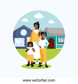 Girls sisters in front of the house vector design