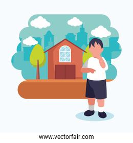 Isolated avatar boy in front of a house vector design
