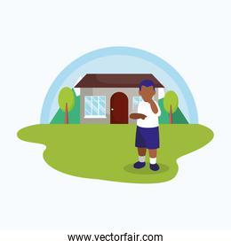Isolated avatar boy in front of a house vector illustration