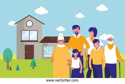 Grandparents parents and kids in front of the house vector design
