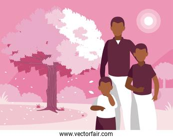 Grandfather father and son in front of trees vector design