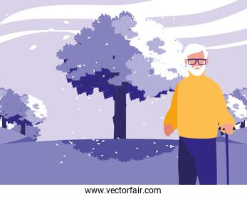 Grandfather avatar old man in front of a tree vector design